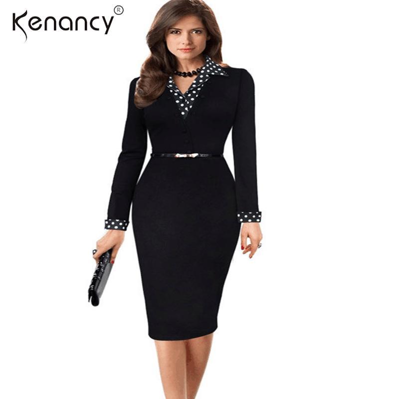 9dd9feea6da Kenancy NEW Vintage Black Patchwork Dots Belted Bodycon Dress Casual Wear  to Work Office Business Sheath Retro Pencil Dress Wear to Work Pencil Dress  ...