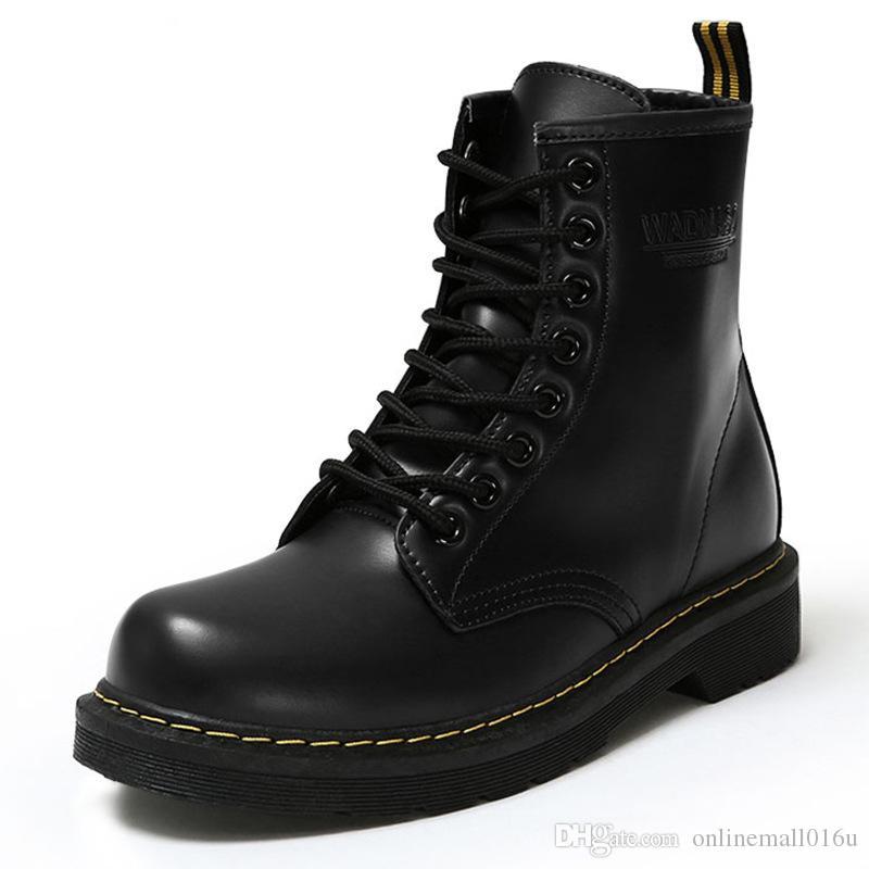 cdabd07b1 Compre Cuero De La Pu Botas De Mujer Moda De Tobillo De Invierno Martin  Botas Zapatos De Trabajo Zapatos De Mujer Con Punta Redonda Negra Con Cordones  Botas ...