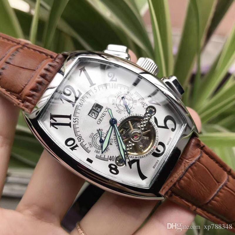 7f0f087e6b9 Compre AAA Top Marca De Luxo Mens Relógios De Aço Esportes Movimento Automático  Relógio Masculino Relógio Homens De Couro Relógio De Pulso Mecânico Relogio  ...
