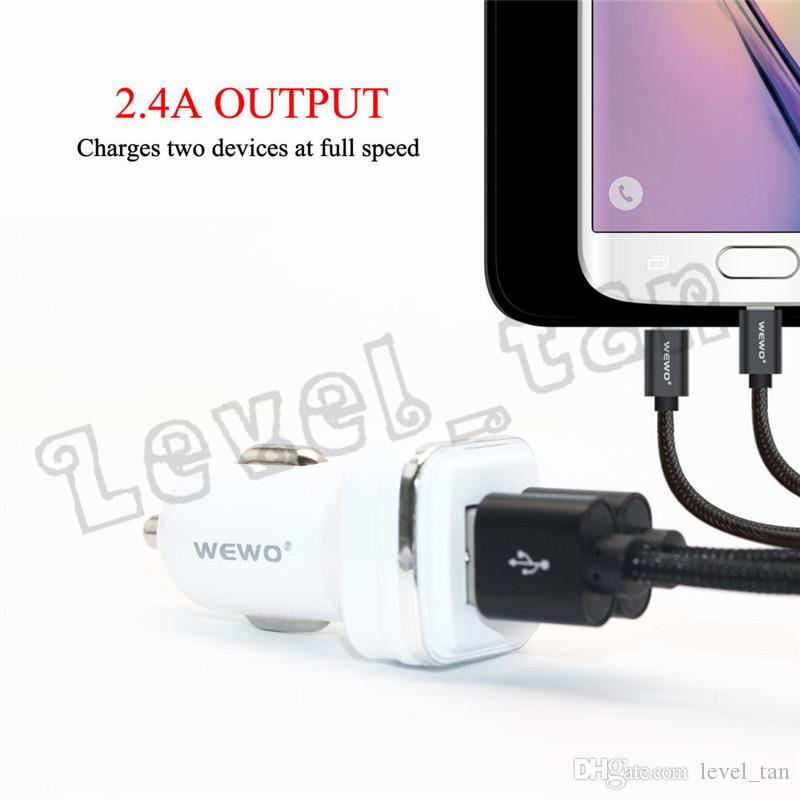 WEWO USB Car Charger Dual USB Output 2.4A Quick Car Battery Charging 12 - 24V Input Car Chargers For Phones