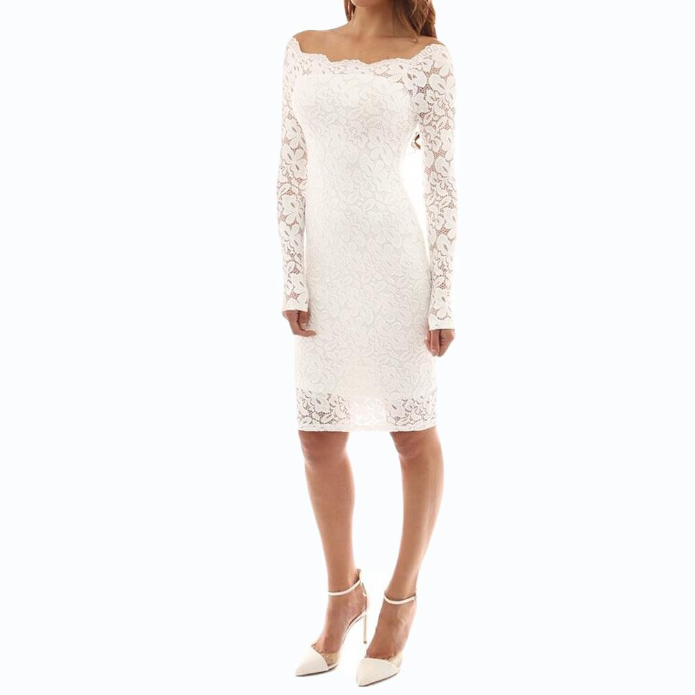 6d235d59cf99 2019 Sexy Women Autumn Midi Dress Floral Lace Long Sleeve Bodycon Dress Off  Shoulder Lining Elegant Party Dresses Black/White Sundresses Womens  Dressing ...