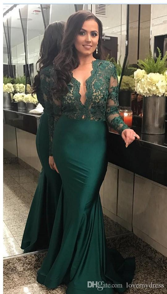 4dfac9bfd2f 2018 Amazing Emerald Green Prom Dress With Lace Illusion Long Sleeves  Elastic Satin Sheath Deep V Neck Sexy Dresses Evening Party Wear Sexy Short  Prom ...