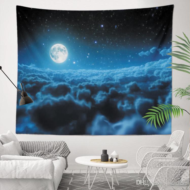 Gece Gökyüzü Tam Yıldız Tasarım Ev Dekorasyon Sublime Baskılı Özel Boyut 130x150 cm 400g Duvar Asma goblen