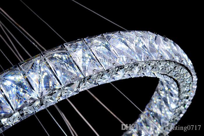 AC100-240V New Modern led lampadari di cristallo soggiorno cucina Camera Da Letto Grande 4 anelli grande cristallo lustres de teto lampadario a soffitto