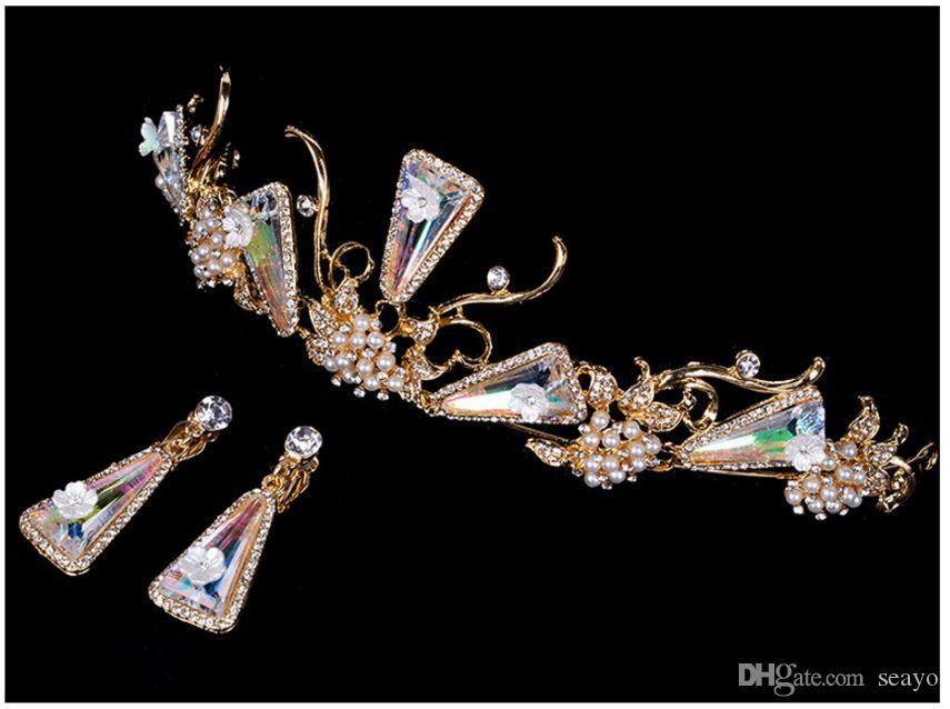 La couronne baroque européenne, la couronne de mariée de bijoux de forage de l'eau d'alliage, l'ornement de tête de vente chaude de la mariée.