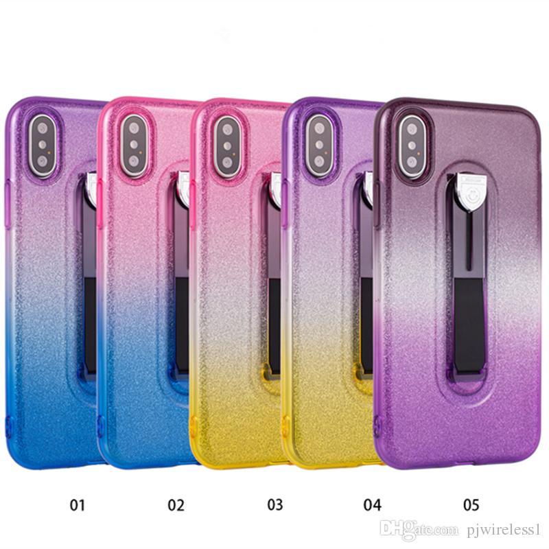 Für samsung galaxy s8 plus hinweis 8 für huawei kollege p10 pro glitter schrittweise zweifarbige tpu versteckt stehen fallschutz telefon case b