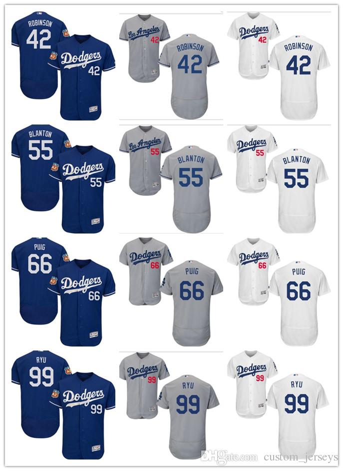 2019 Custom Men Women Youth LA Dodgers Jersey  42 Jackie Robinson 55 Joe  Blanton 99 Hyun Jin Ryu 66 Yasiel Puig Blue Grey Baseball Jerseys From  Deem ec918729c39