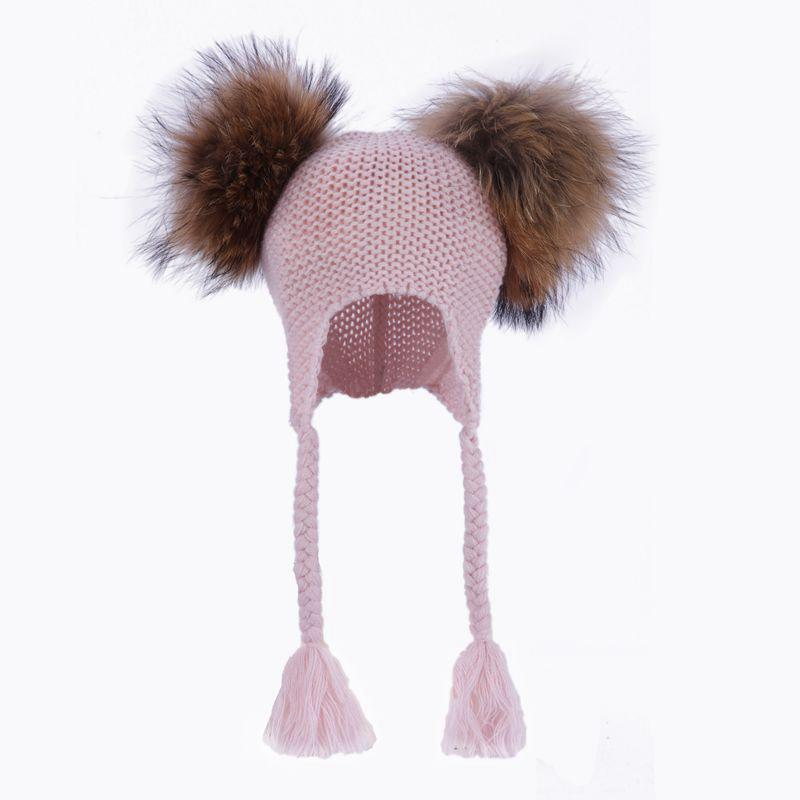 76eca72a255 2019 Kids Real Fur Pom Pom Hat Baby Winter Crochet Earflap Hat Girls Boys  Knied Beanie Double Two Real Fur Pompom For Children From Qingfengxu