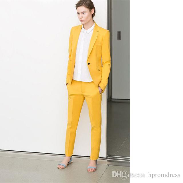 e388647a2774 Acheter Tailleur Jaune Femme Costume Tenue De Bureau Uniforme Ensemble 2  Pièce Blazer Femme Costumes Pantalons Costume De  100.5 Du Hpromdress