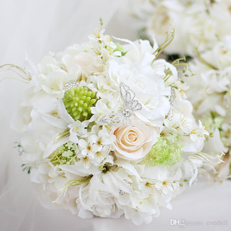 JaneVini Artificial Ivory White Rose Peony Bridal Wedding Flowers Brooch Bouquet For Bride Butterfly Rhinestone Pearls Bridal Bouquets 2018