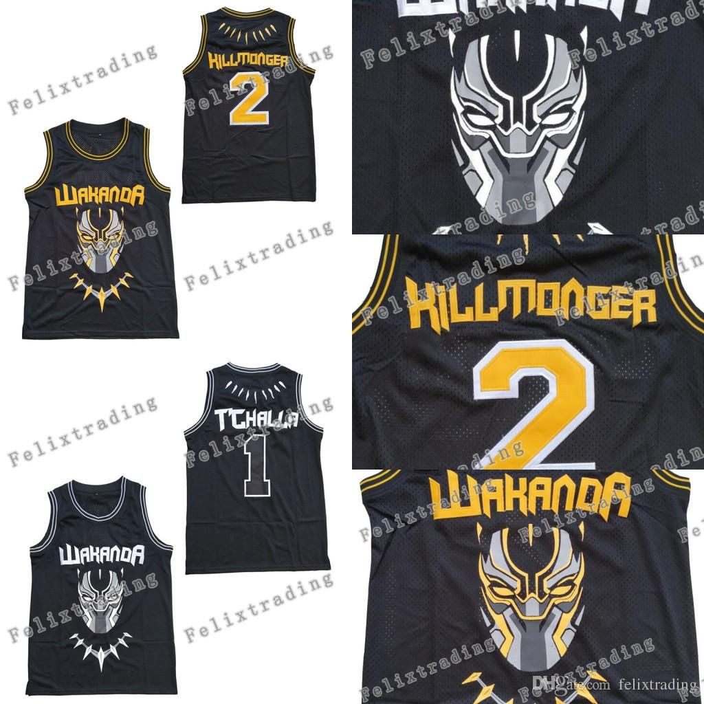 8713152e1 2019 The Black Panther Wakanda T Challa  1 Killmonger  2 All Stitched Jersey  Top Quality Moive Jerseys Men Black Fast Free Shippin From Felixtrading