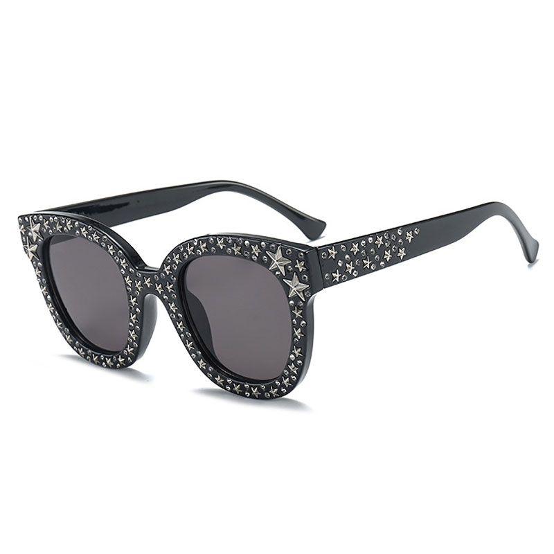 bdd32686b42 Luxury Italian Brand Sunglasses Women Crystal Square Sunglasses Mirror  Retro Full Star Sun Glasses Female Black Grey Shades UV400 Cat Eye  Sunglasses Round ...