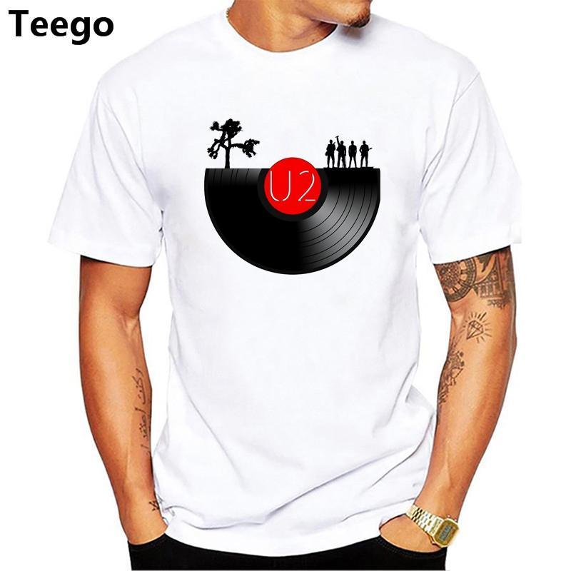 huge selection of 2413b 2c90b T shirt uomo U2 maglietta maglietta moda O Collo magliette bianche per uomo  Top Tees