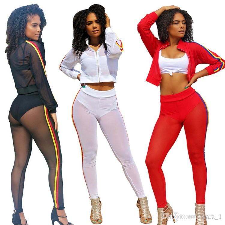 Women Designer Long Sleeves shirt Leggings 2 Piece Outfits Sheer Mesh Sweatshirt Pants Tracksuits Crop Tops Beach sun-protective clothing 34