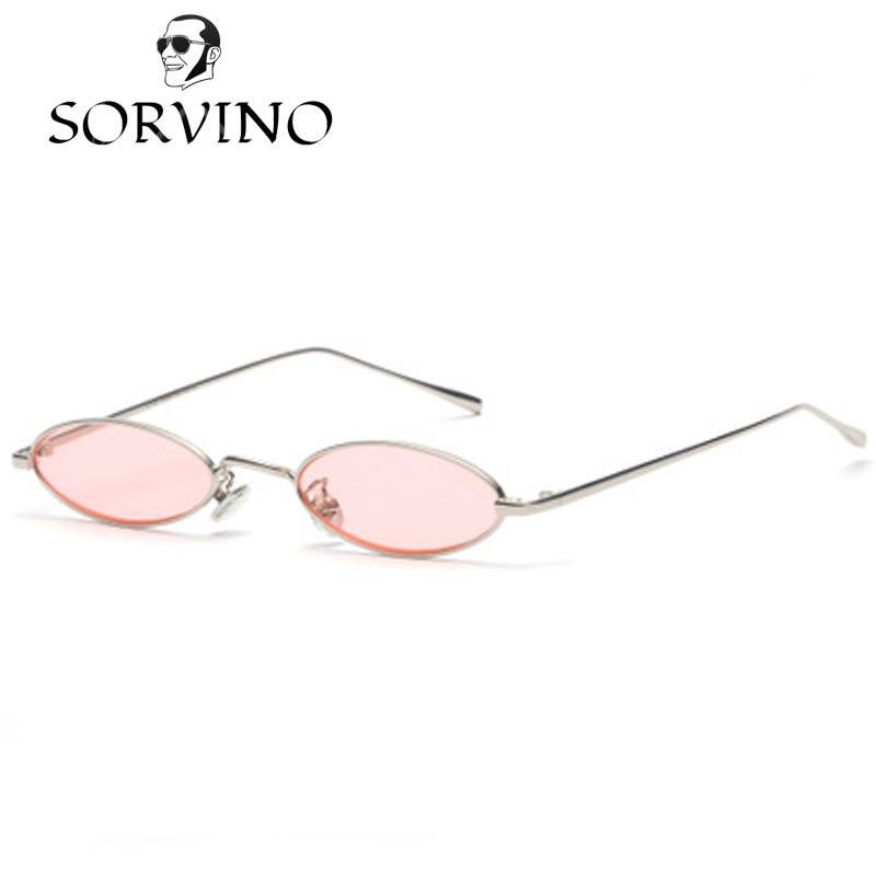 b14f65e0b2 SORVINO 2018 Vintage 90S Small Slim Oval Sunglasses Women Men Retro Female  Wire Metal Frame Pink Red Yellow Skinny Narrow Sun Glasses Shades Sunglasses  Shop ...