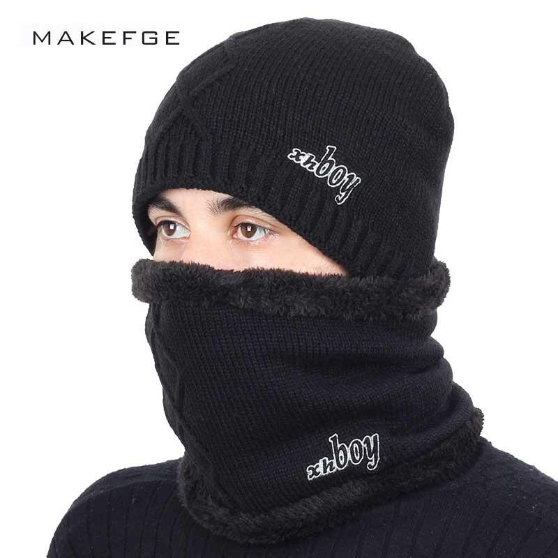New Fashion Brand Men s Knit Beanie Hat Scarf Set Solid Color Cotton ... 54a1a8b64871