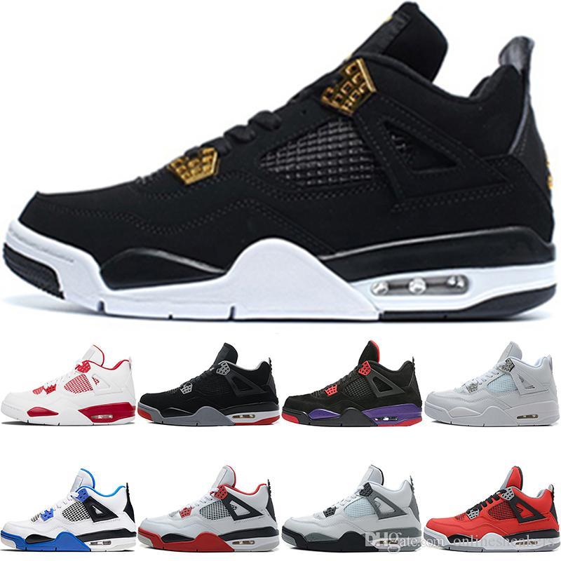 sports shoes a3c8d 8a42e Scarpe Da Ginnastica Donna Nike Air Jordan Retro Scarpe Da Basket 4 4s  Uomini Raptors Puro Soldi Allevati Royalty Nero Bianco Cemento Fuoco Toro  Bravo Rosso ...
