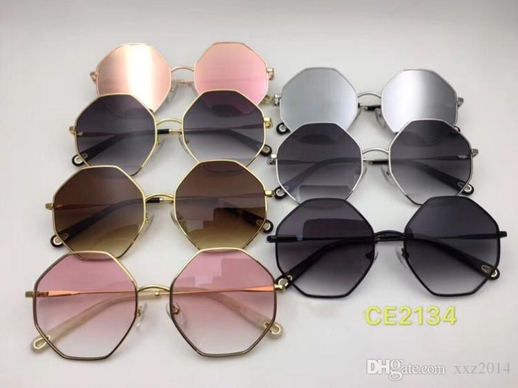 bbec8e38edb 2018 Fashional CE2134 metal irregular Muti-shape sunglasses female UV400  gradient sunglasses general sizes with The chain tassel pendant