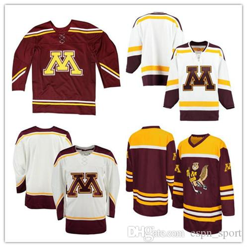 on sale d2ab5 7e656 Wholesale NCAA Minnesota Golden Gophers Twill Jersey Mens Womens Kids  Custom Any Name Any NO.100% Stitched Ice Hockey Cheap Jerseys S-6XL