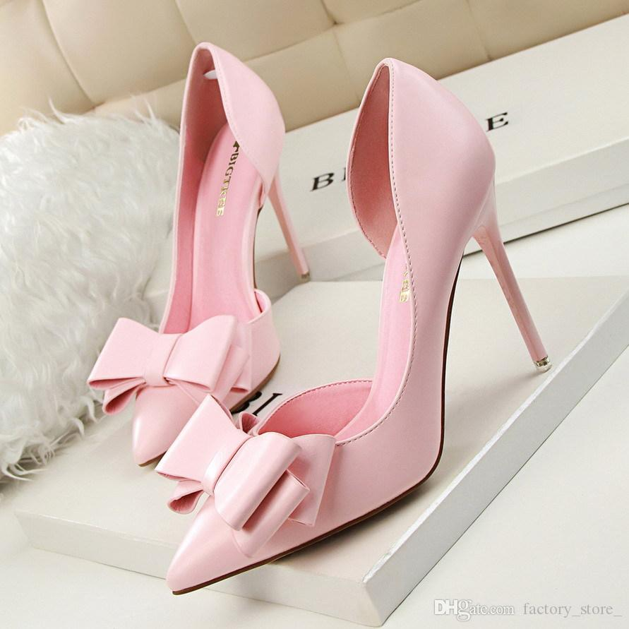 Ladies Butterfly Knot Wedding Shoes Bride Women Heels Ladies Shoes With  Heels Red Shoes Woman Sexy High Heels Women Pumps Zapatos De Mujer Leather  Shoes For ... 5977be6634cf