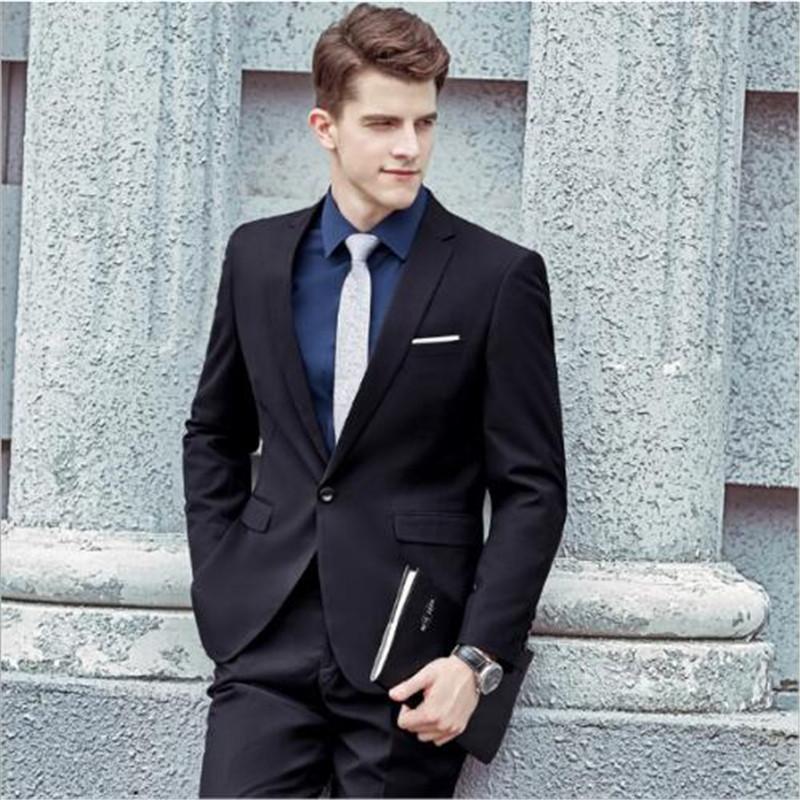 Compre 2018 Summer Custom Made Traje Negro Para Hombre Mejor Terno Slim Fit  Boda Terno Masculino Blazer 2 Piezas Abrigo + Pantalón + Tie A  130.44 Del  ... 7d2649cb092