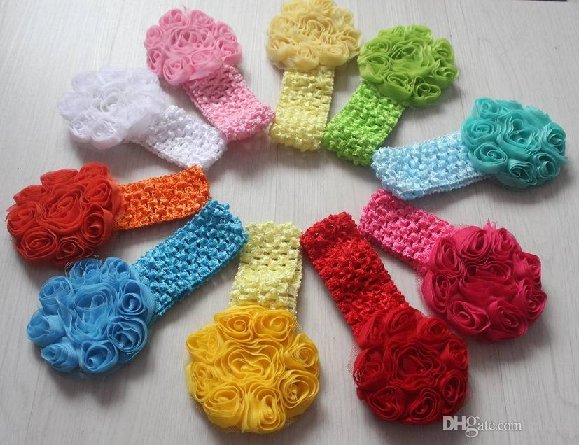 3 Fancy Rose Flower Knitted Headbands For Girlsstretch Crochet