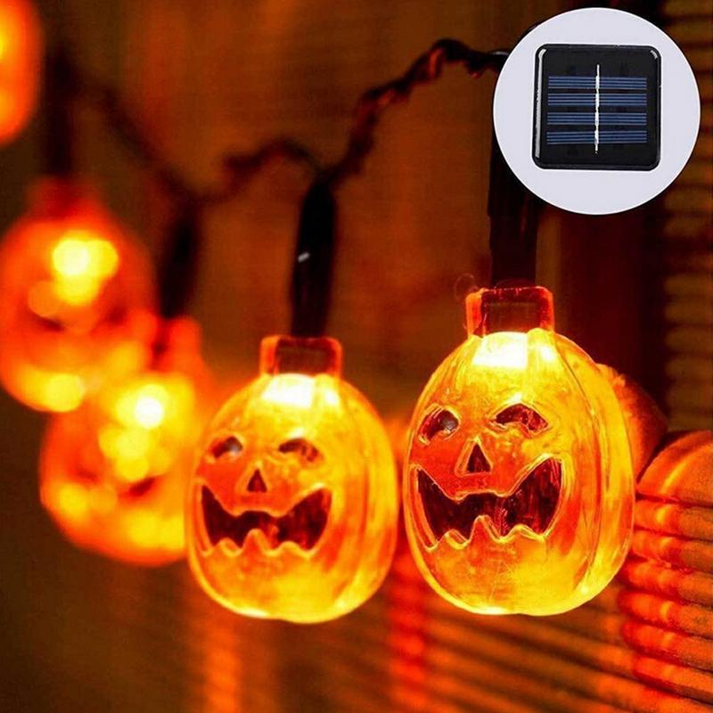 3050led solar powered led string pumpkin lights garden halloween party xmas christmas tree hanging fence outdoor fairy lights halloween string lights