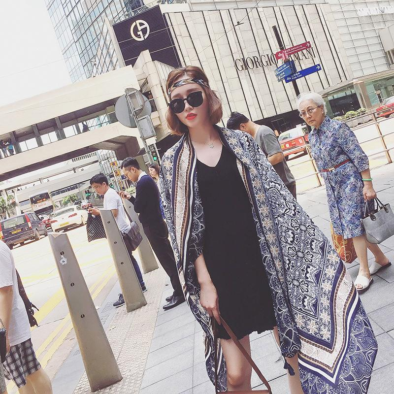 fd11d1625 Fashion Women Elegant Blue And White Porcelain Tassel Poncho New Arrival  Female Shawl Women Scarves Travel Necessity Drop Ship Sons Of Anarchy  Bandana Mouth ...