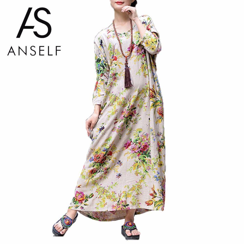 9cac941b86b 2019 X907 Women Autumn Long Dresses Plus Size 3XL 4XL 5XL Cotton Linen Maxi  Dress Vintage Loose Floral Print Boho Dress Beach Robe Female From Ruiqi03