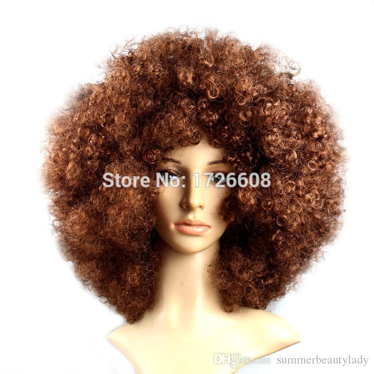 FASHION HAIR ACCESSORIES BROWN CURLY AFRO WIG CIRCUS CLOWN UNISEX FANCY  DRESS FOOTBALL WIGS SPORT SUPPORTER BEST CHRISTMAS GIFTS Hair Bows And  Accessories ... c56521e1572e