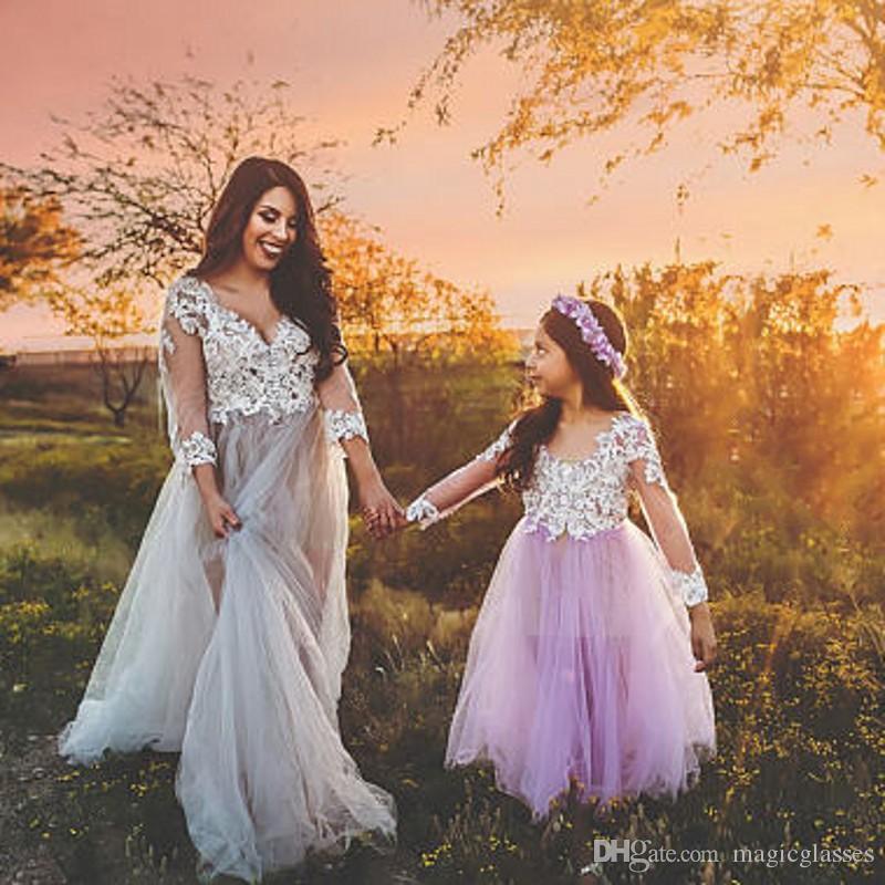 807978377f Princess Light Purple Wedding Flower Girl Dresses Little Bride Long Pageant  Dress For Girls Glitz Puffy Tulle Prom Dress Ivory Lace Applique Silver  Flower ...