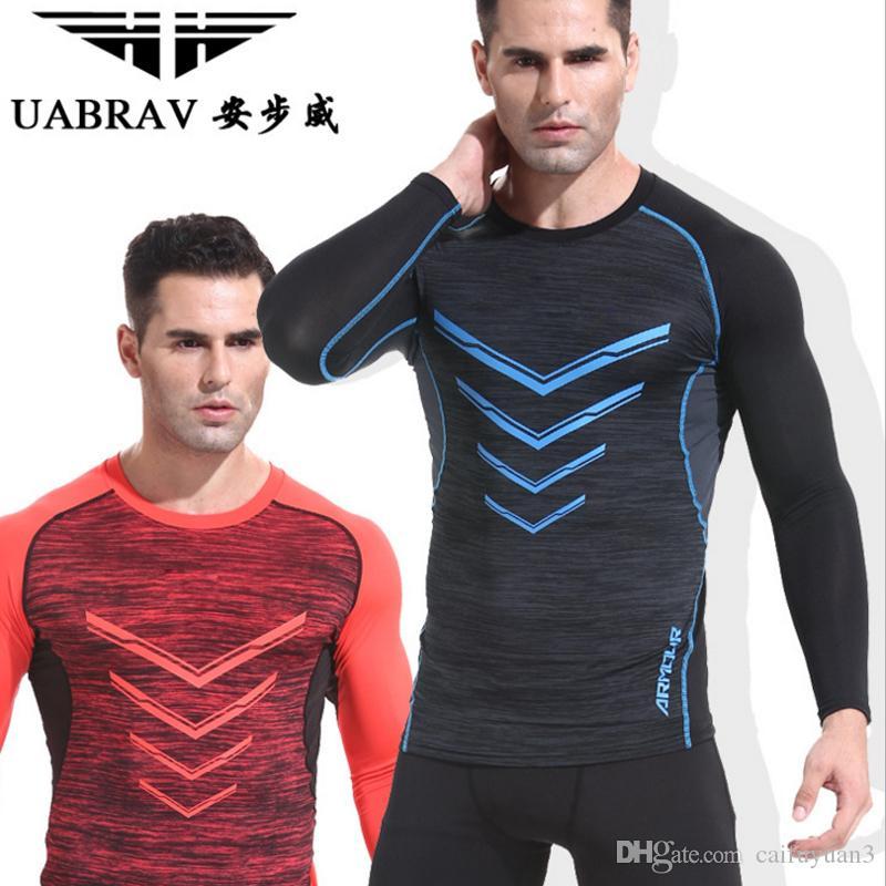 Acheter 2018 Uabrav Hommes T Shirts Manches Longues Mâle Fitness Thermique Musculation  Musculation Crossfit Élastique À Séchage Rapide Chemises De  10.06 Du ... 4b9ae668b99