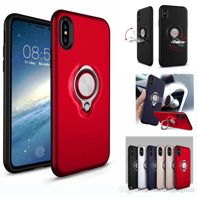 sports shoes cf169 45ad5 360 Ring Holder Magnetic Back Cover Hybrid Armor Case For iPhone X Xr Xs  Max 8 7 6 6S Plus Sumsung S7 edge Note 8 S8 S9 Plus