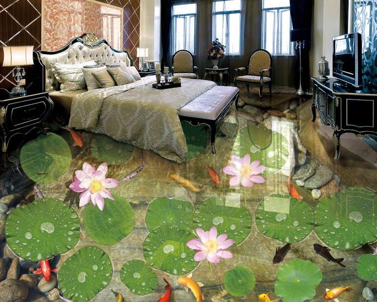욕실에 대한 3 차원 PVC 바닥 벽지 Shitang 연꽃 잉어 3 차원 바닥 타일 사진 벽지 자연