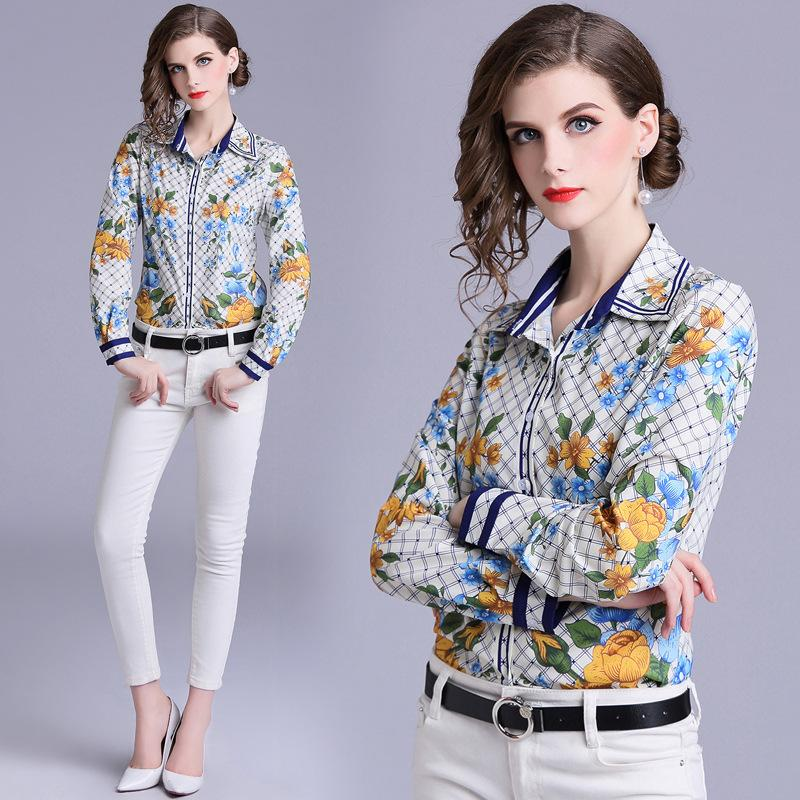 b1d8a2a005c7ab Womens Collared Shirt Print Casual Blouse Tops Floral Printed Slim ...