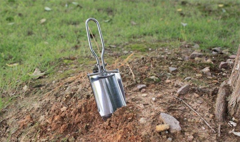 Wholesale stainless steel mini foldable garden shovel planting tool fishiing camping shovel