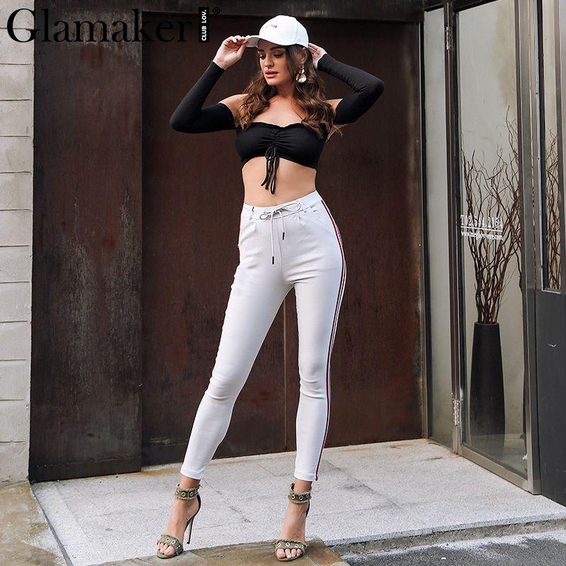 Pantaloni a vita alta a righe laterali casuali Pantaloni a pantaloni laterali a coulisse donna Pantaloni invernali da donna autunno inverno