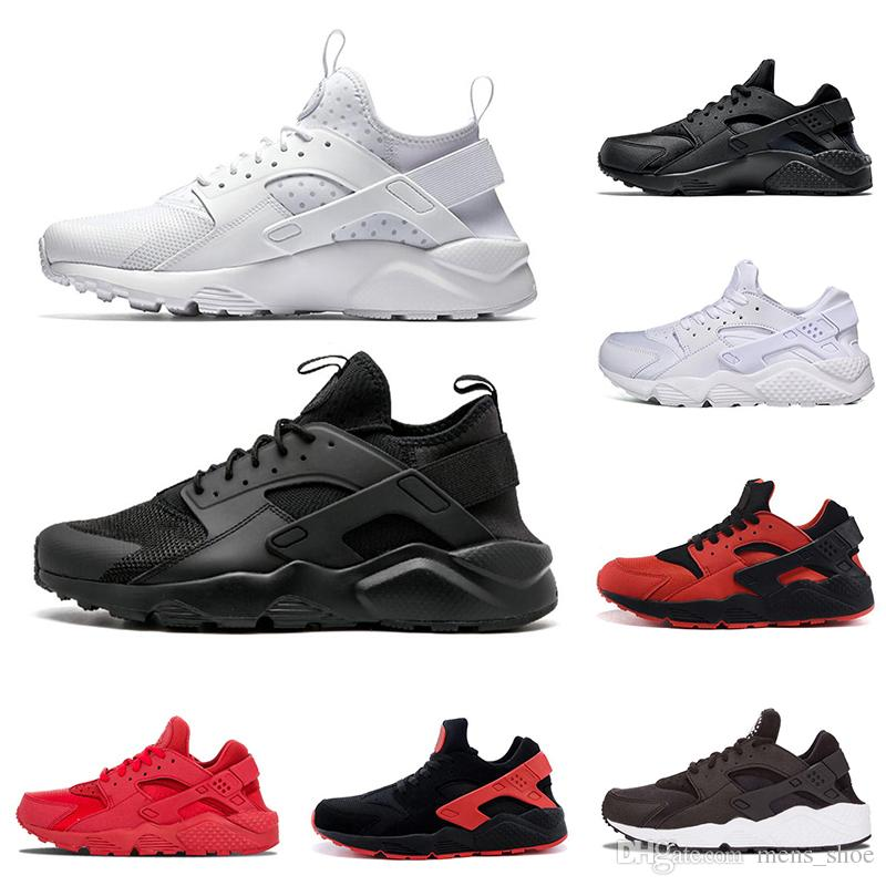 a883429490b9 New Arrival Huarache Mens Running Shoes Black White Gold All Red ...