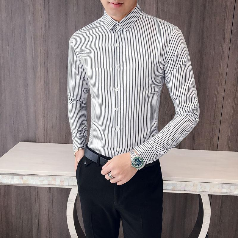 04ea504eb78 2019 Hot Sale Men Casual Shirts Brand New Slim Fit Striped Social Shirt  Mens Long Sleeve All Match Men S Clothing Blouse Homme 2XL M From  Manxinxin