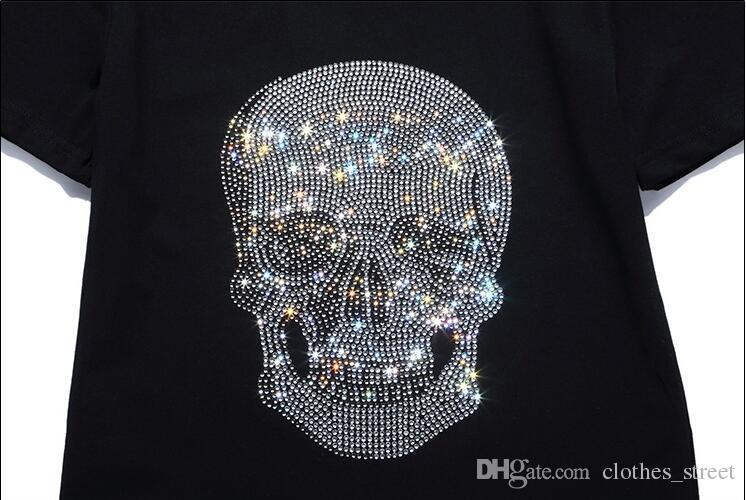 뉴 타이드 브랜드 Mens Short Fit Slim Casual TSHIRTS 프린트 3D Skulls 라인 석 desinger MENS 코튼 티셔츠