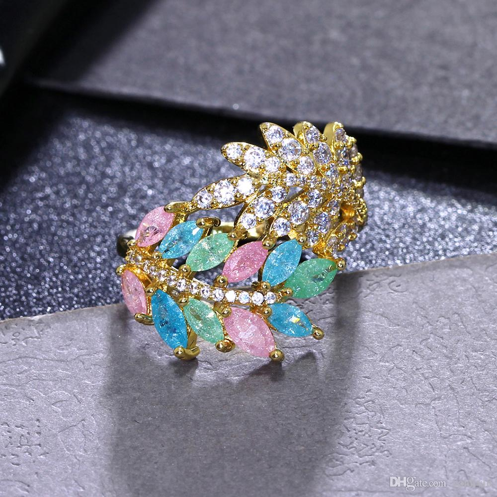 Leaf trendy ring aneis Blue Pink zircon stones Gold plate Beautiful female jewelry Pretty excellent finger ring