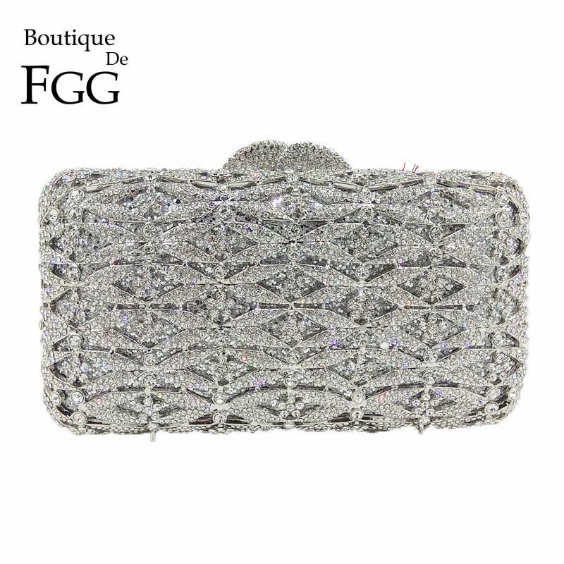 1f0fc55d64 Boutique De FGG Luxury Silver Crystal Purse Evening Clutch Bag Women Metal  Box Minaudiere Wedding Party Dinner Diamond Handbag Diamond Handbag Crystal  Purse ...