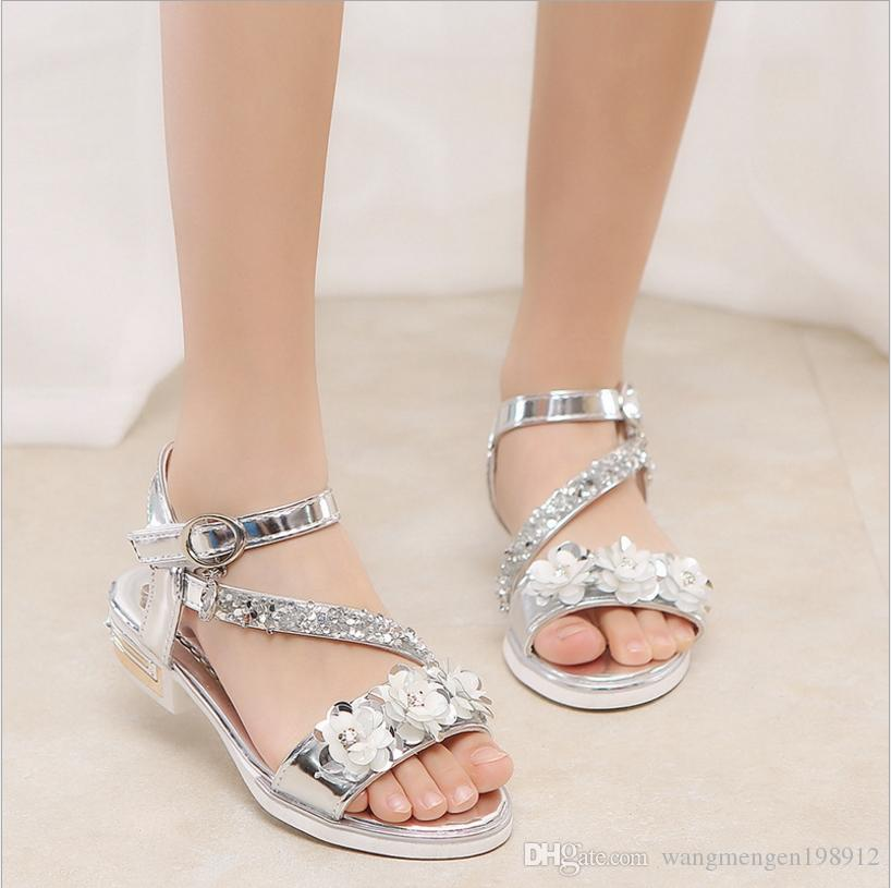 1a872556cd4 Girls Sandals 2018 Summer New Child Princess Shoes Korean Fish mouth High  heels Little girl Open Toe Crystal