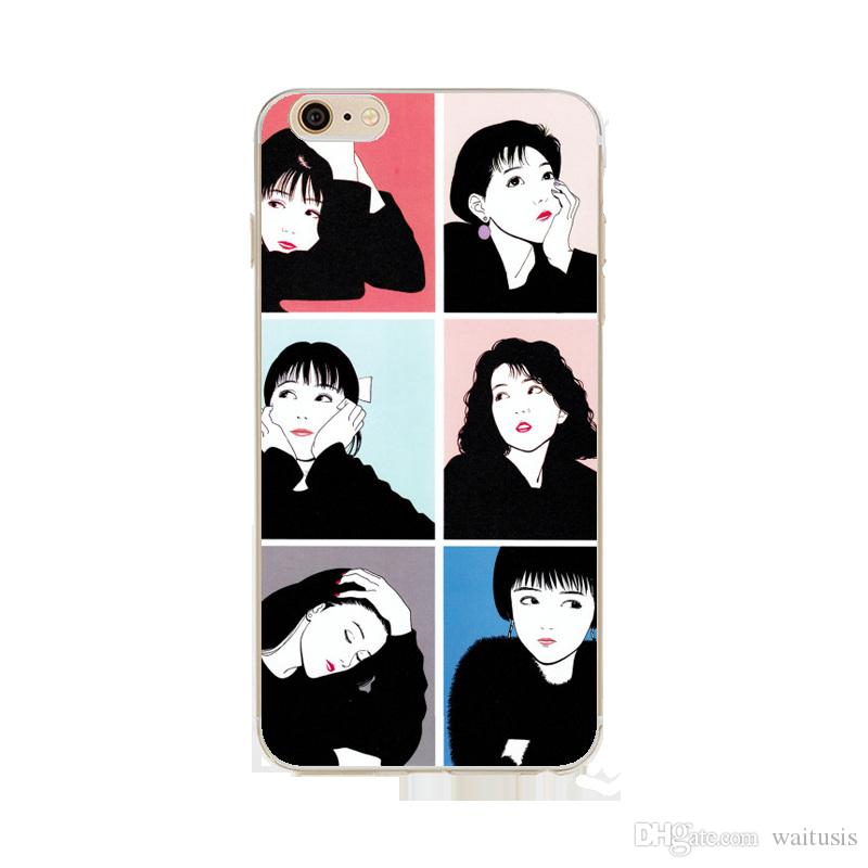 Funda para iPhone 7 7P Estilo japense Japense Patrón ultrafino de dibujos animados Cubierta suave del teléfono de TPU Para iPhone X 8 Plus 8p 6 6s 6p