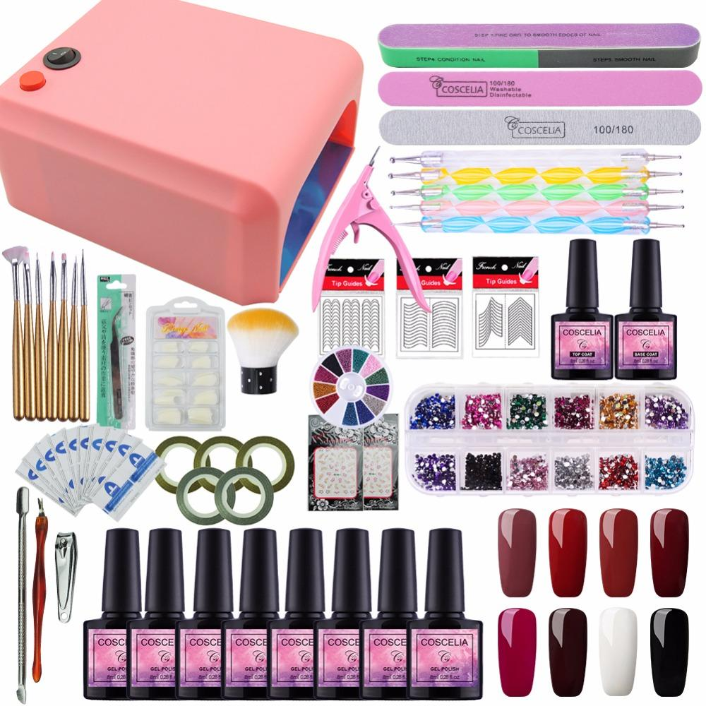 Tools s Kits Set For Nail Gel Manicure Set Nail Kit Set 8 Color UV Gel Polish 36W UV LED Lamp