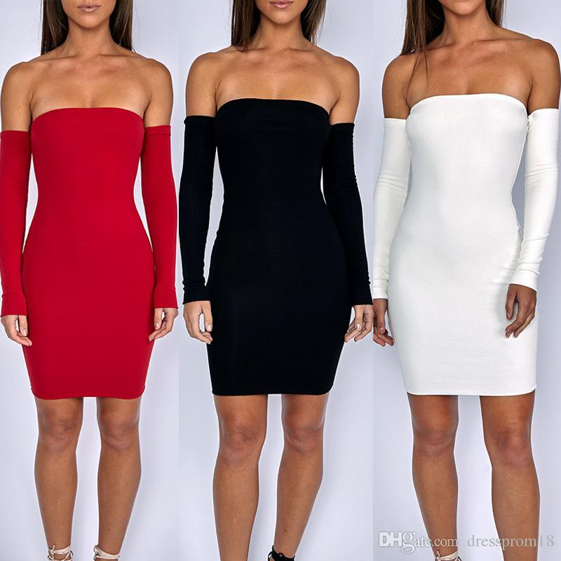 fcaddeb605f 2019 Sexy Off Shoulder Long Sleeved Bodycon Dress For Women Fitted Casual  Club Party Wear Figure Hugging Cloth From Dressprom18