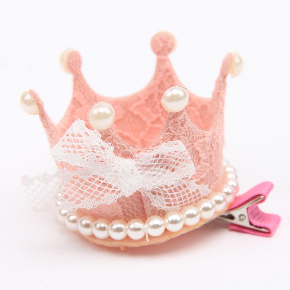 Кружева Принцесса Корона партии шляпы девушки симпатичные сладкий день рождения оголовье Baby Shower декоративные Cap имитация жемчуг лук волос Pin