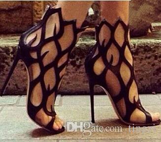 Sexy 11Cm Tacones Altos Ahueca Hacia Fuera Botines Para Mujeres Zapatos de Plataforma Abierta de Los Dedos Botas de Verano Señoras Tamaño 42