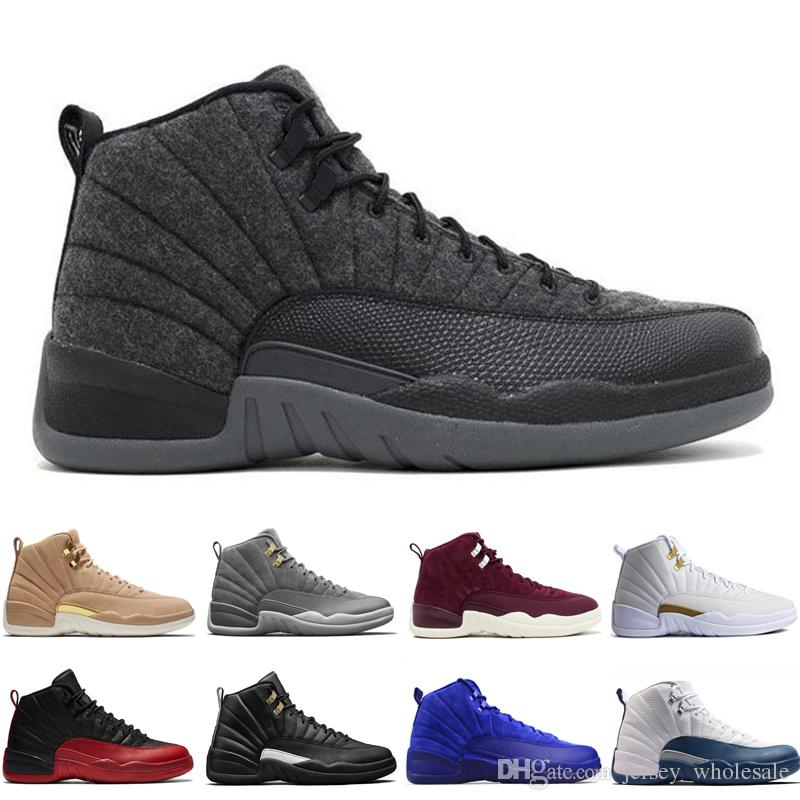eddf1200583 Cheap 12 12s Mens Basketball Shoes Wheat Dark Grey Bordeaux Flu Game The  Master Taxi Playoffs Wolf Grey Gym Red Royal Blue Suede Sports Sneakers