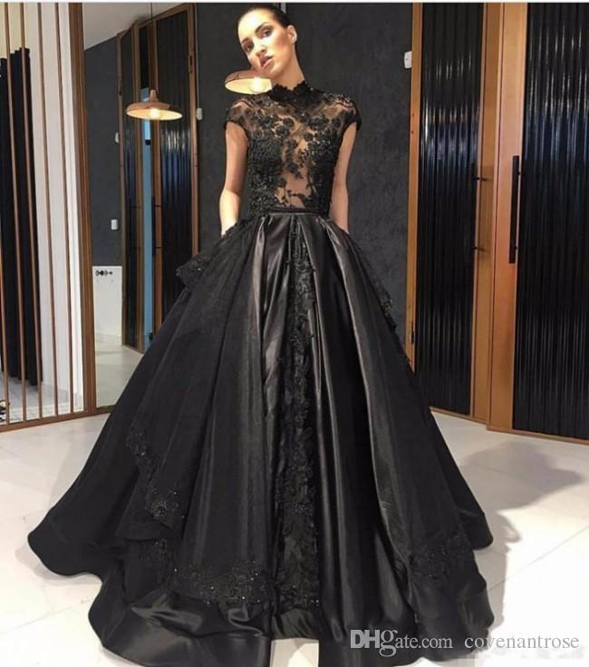 2018 Elie Saab Evening Dresses Lace High Neck See Through Red Carpet Black Prom Dress Party Gowns With Detachable Skirt